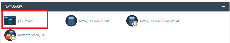 PhpMyAdmin in the database section from Cpanel